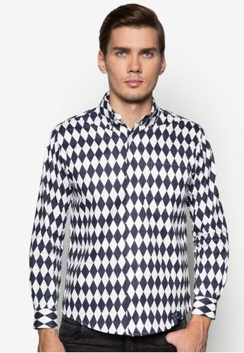 Herlequin 鑽石圖形長袖襯衫, 服飾,esprit台北門市 服飾