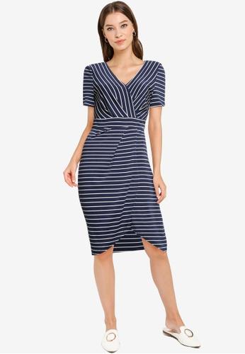 ZALORA WORK navy Pleated Wrap Dress E4598AA7F6CDBBGS_1