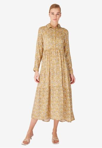 Trendyol yellow Yellow Printed Shirt Dress DC712AAC0F793EGS_1