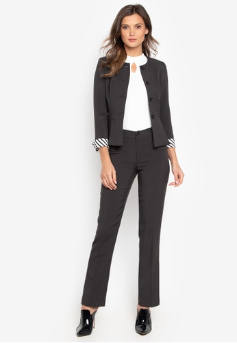 Well Suited black Stripe Cuff Accent Pants Suit FE5E9AAAD62309GS_1