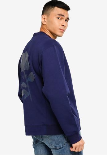 Calvin Klein navy Oversized Flower Graphic Sweatshirt - CK Jeans 84FC9AA8FDFFBDGS_1