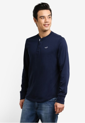 Hollister navy Solid Henley Polo Shirt HO422AA0RDVJMY_1