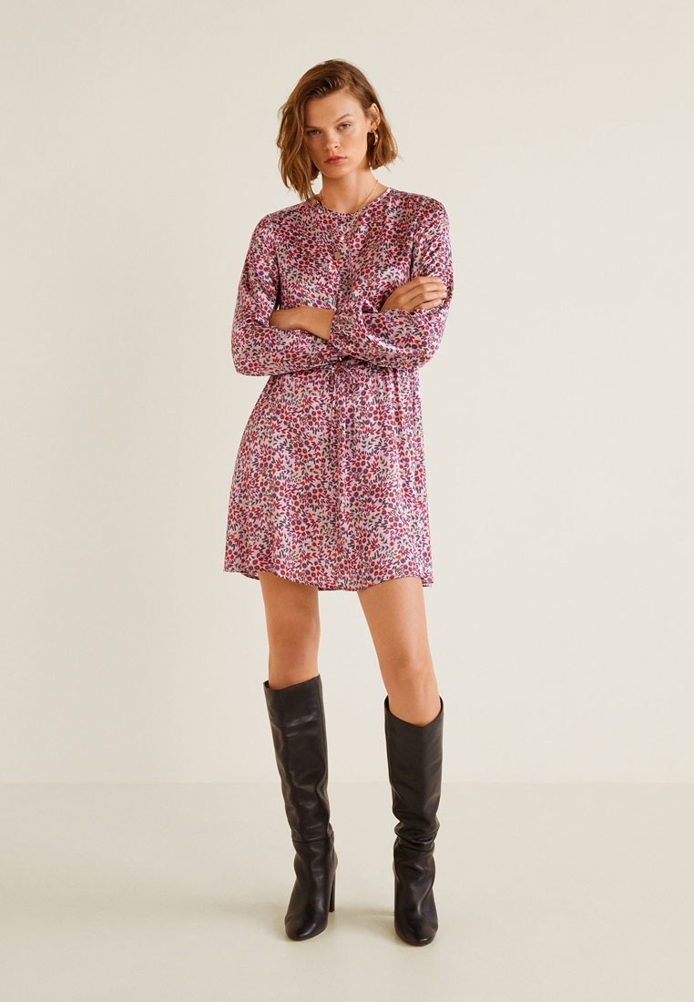 Satin Dress Pastel Floral Mango Light Purple BrvB6xW