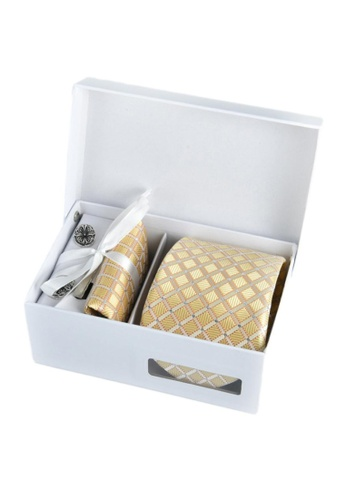 Kings Collection yellow Yellow Tie, Pocket Square, Cufflinks, Tie Clip 4 Pieces Gift Set (KCBT2067) 1CF70AC7CA838EGS_1