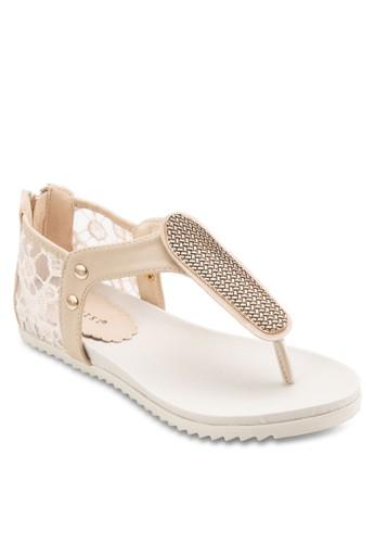 蕾絲esprit衣服目錄T 字帶平底涼鞋, 女鞋, 涼鞋