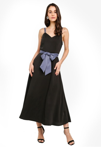 ZALORA black Double Strap Fit and Flare Midi Dress AF189AAAD9AA74GS_1