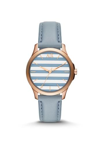 Armani Exchange blue Lady Hampton Blue Leather Watch AX5238 22A5EACB0144EDGS_1
