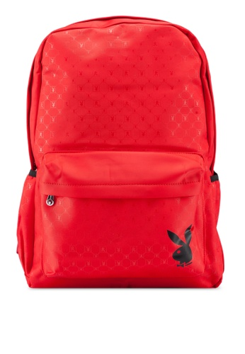 Playboy red Logo Printed Backpack 3A39BACCE6BF56GS_1
