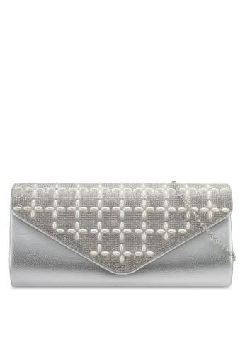 Unisa silver Glittering Crystal & Pearl Embellishment V-Shape Dinner Clutch UN821AC0SRUJMY_1