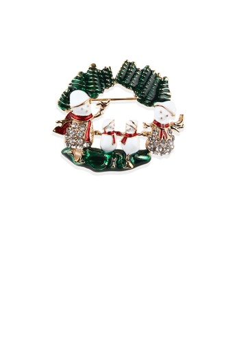 Glamorousky white Fashion Creative Plated Gold Christmas Snowman Brooch with Cubic Zirconia 90C07ACD0CC1C7GS_1