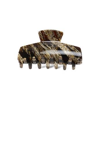 Glamorousky brown Fashion High-end Yellow Striped Geometric Hair Claw 3E5C2AC14E7783GS_1