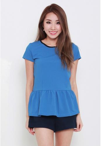 Leline Style blue Jeanne Ruffles Blouse LE802AA11FCESG_1