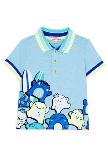 Du Pareil Au Même (DPAM) blue Surf Monsters Polo Shirt 1AFF6KA862DBD8GS_1
