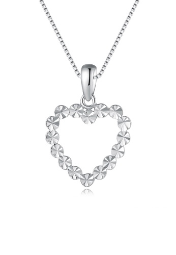 MaBelle silver 14K/585 White Color Gold Gold Hearts Pendant With Silver Necklace 38436AC4E89732GS_1