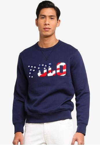 Polo Ralph Lauren navy Long Sleeve Crew Neck Fleece Sweatshirt 9FCF3AAA7CE455GS_1