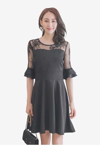 Yoco black Lace Trumpet Sleeves Dress 1159FAAE5CA8A4GS_1