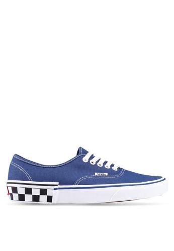 c67493ec33 VANS blue and navy Authentic Check Block Sneakers E5386SH3BA1B4DGS 1