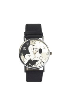 Silver Tone Round Watch with Mickey Mouse Design