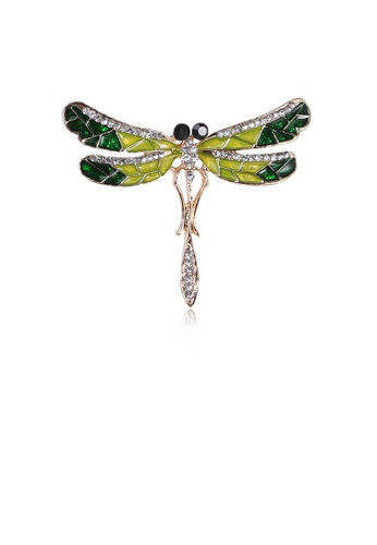 Glamorousky white Simple Temperament Plated Gold Dragonfly Brooch with Cubic Zirconia 15A34ACD32B24BGS_1
