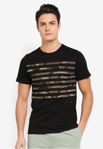 JAXON black and multi Camo Stripe Tee 0169FAA9DBB419GS_1
