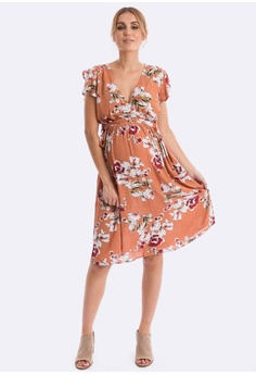 7ed8bb0ad3 Maive   Bo orange Simone Tea Dress in Burnt Peach F6299AA503E540GS 1