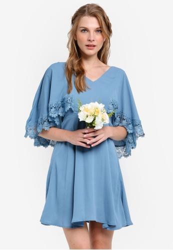 ZALORA blue Bridesmaid Lace Detail Cape Mini Dress 4B22EAA8D0737CGS_1