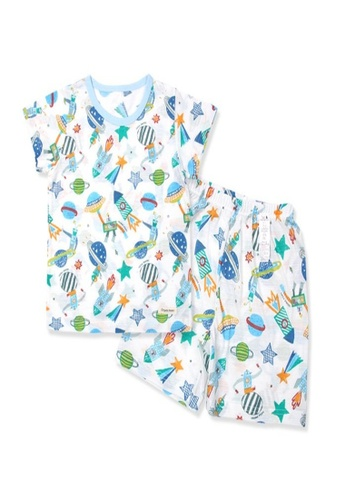 Organic mom blue Organic Cotton Jazz Rocket Pajamas 1055AKAC4313A9GS_1