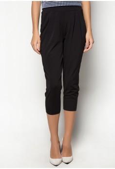 Pleated Capri Pull Up Pants