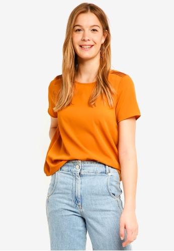 Vero Moda orange Vonderful Short Sleeve Midi Top FB198AA3526AF4GS_1