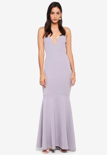 b4920b21 Shop MISSGUIDED Scuba Bandeau Fishtail Maxi Dress Online on ZALORA ...