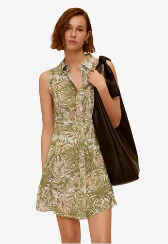 Mango green Tropical Print Dress 463B1AA193E727GS_1