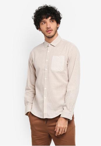 JAXON grey Mix Stripe Long Sleeves Shirt B908BAAA5EF02FGS_1