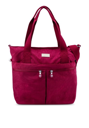Bagstationz red Crinkled Nylon Travel Tote 29C27ACFA77653GS_1
