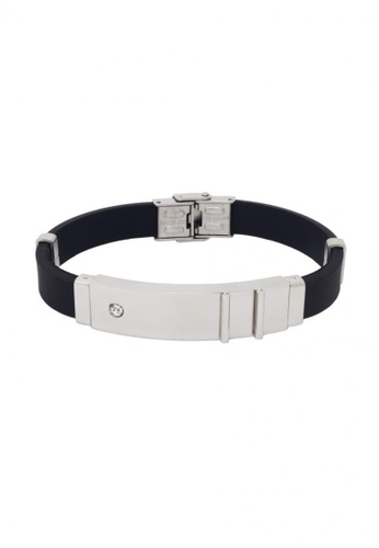 Jaysa Collection black Stainless Steel Plate Zirconia Stud Bracelet with Silicon Strap JA875AC07FQUSG_1