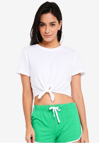 TOPSHOP white Petite Knot Front T-Shirt 92A68AAECDD414GS_1