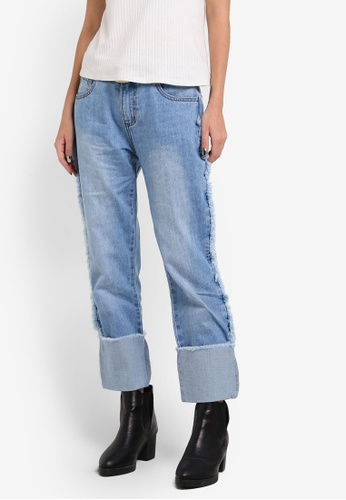 Something Borrowed blue Raw Edge Boyfriend Jeans 95439ZZ94BCFD7GS_1