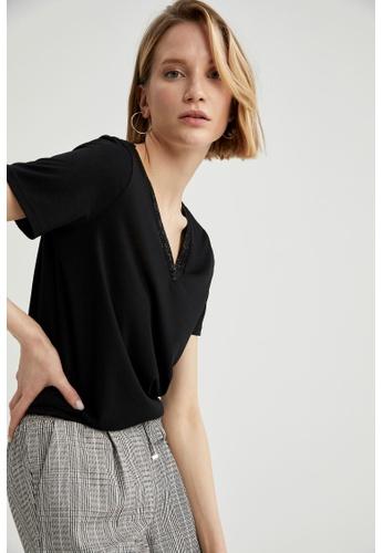 DeFacto black Woman Knitted Short Sleeve T-Shirt 692A8AA7E13071GS_1