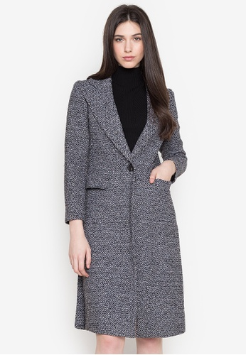 Well Suited grey Tweed Trench Coat in Side Slit Net Accent 6A8A1AA3B3F075GS_1
