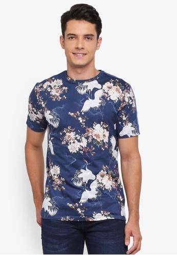 River Island blue Floral Crane T-Shirt 475E6AA5E3AEE9GS_1