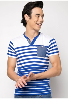 Henley Stripes Tee with Pocket