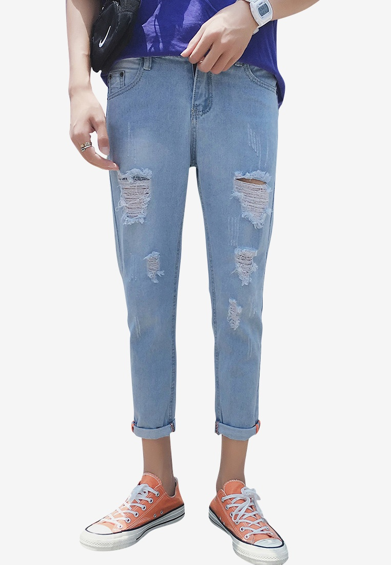 Men Rise ehunter Rips blue Jeans Mid hk qEFqZ7rw