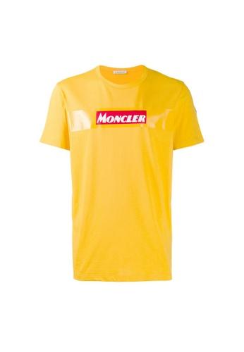 Moncler yellow Moncler Felt Logo T-Shirt in Yellow 175B8AAB19E9D5GS_1