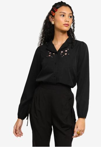 Lubna black V-neck Collar Embroidered Blouse BC97FAA5AF28F2GS_1