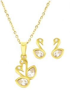 Gold Swan Jewelry Set 001