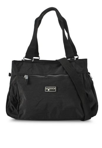 Bagstationz black Crinkled Nylon Shoulder Bag 93C43AC8B6F37CGS_1