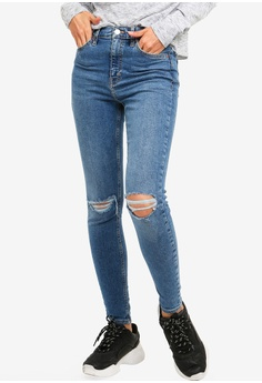146a2a964635 TOPSHOP blue Mid Denim Ripped Jamie Jeans 9A9ACAA5EE2B70GS 1