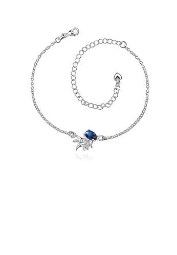 Glamorousky blue Silver Plated Fashion Elegant Goldfish Cubic Bule Zircon Anklet 64B29AC02ACA8DGS_1