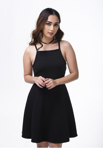 UNAROSA black Fit And Flare Knit Dress AC5ABAA8D94DC3GS_1