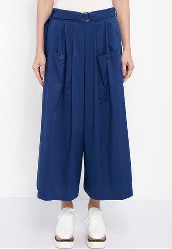 Dkny blue DKNY Women Poplin Pants With Side Snaps F53CBAA4B7DC10GS_1