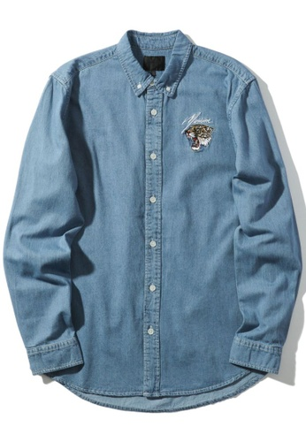 MUSIUM DIV blue Tiger embroidered button-down shirt 2D6F9AA8648869GS_1